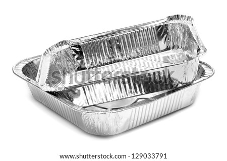 some aluminium foil trays on a white background - stock photo