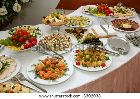 some appetizing food from banquet table - stock photo