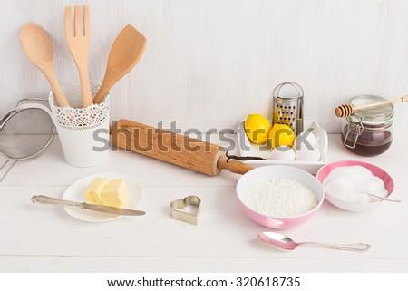 Some baking ingredients - stock photo