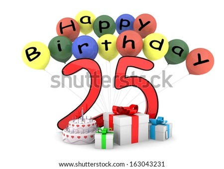 some ballons with lettering Happy Birthday and a big number as the age und some items before - stock photo