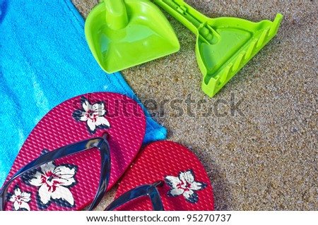 Some beach objects in the sand with great colors