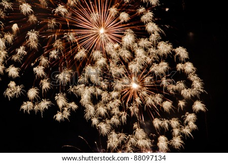 some beautiful golden fireworks - stock photo