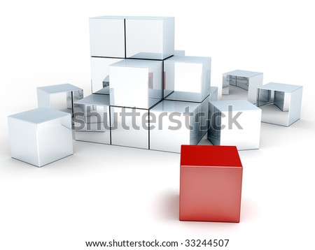 some blocks partly stacked together - stock photo