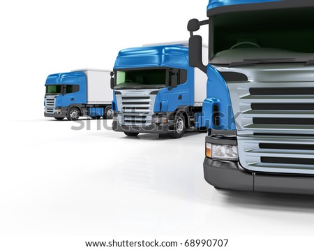 Some blue trucks isolated on white background - stock photo