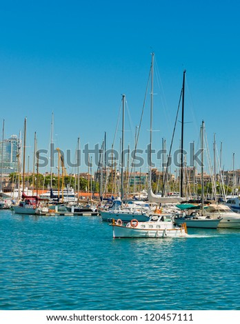 Some boats in Barcelona port - stock photo