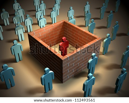 Some brick walls isolate a different individual from other people. Digital illustration. - stock photo