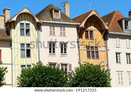 Some buildings and medieval half-timbered houses in a row in the old town of Troyes, Aube, Champagne-Ardenne, France. - stock photo
