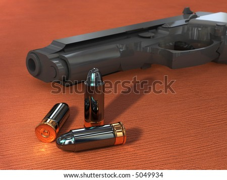 Some bullets and an handgun on a wood surface. Digital illustration. - stock photo