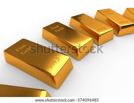 Some bullions of gold isolated on white background