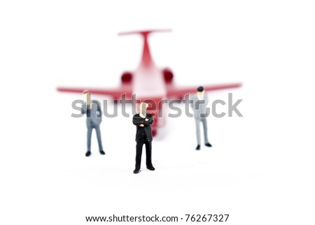 some busines people on plane - stock photo