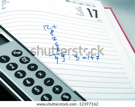 Some calculations in an agenda, and an elegant calculator