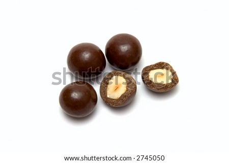 some candies on white background