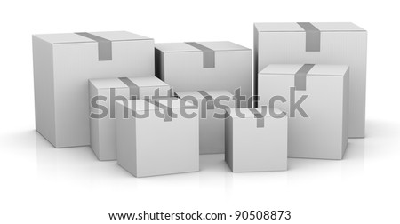 some carton boxes in different sizes (3d render) - stock photo