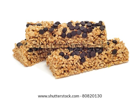 some cereal bars on a white background - stock photo