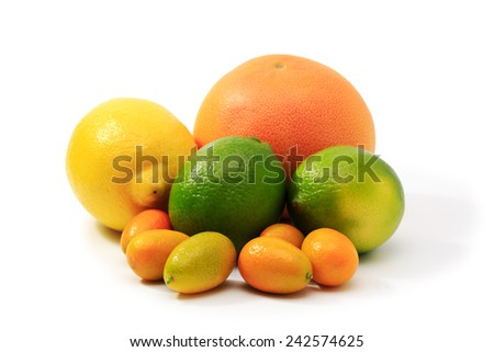 Some citrus fruits on a white background. - stock photo