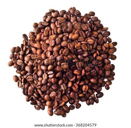 Some Coffe beans isolated on white background - stock photo