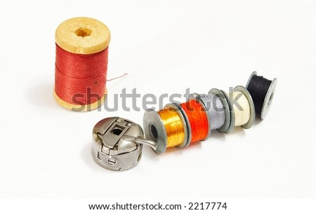 Some coils with gimps for the sewing machine - stock photo