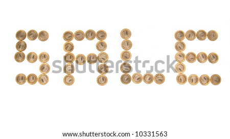 Some coins as word 'sale'. Russian currency. Isolete on white - stock photo
