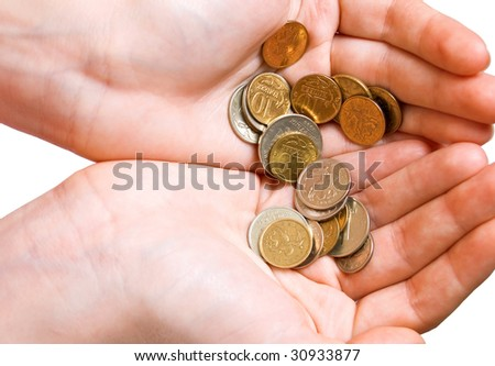 Some coins in female palms. Isolation on a white background