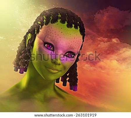 Some colorful cuteness with an out of this world alien girl - 3d render with digital painting. - stock photo