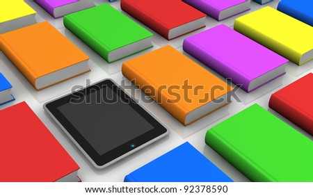 some coloured books with a tablet pc (3d render) - stock photo