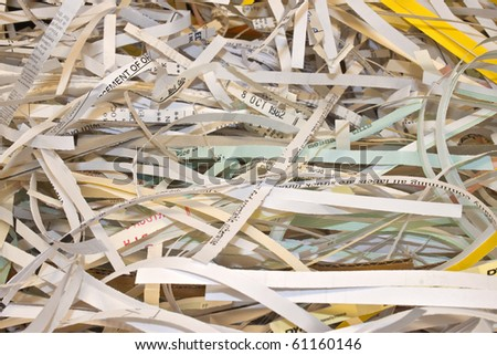 some confidential paper shredded to protect identity
