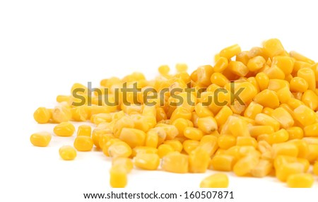 Some corn kernels. Isolated on a white background.