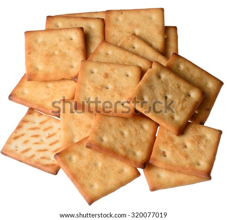 some crackers on an isolated white background