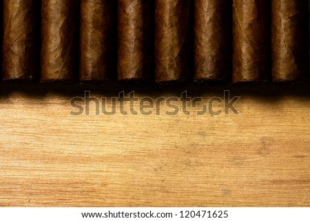 some cuban cigar on wood - stock photo