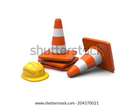 Some 3d roadblocks isolated on white background