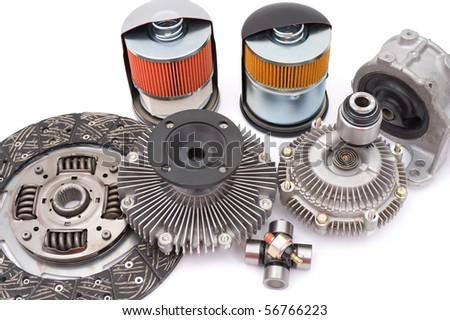 some different auto spare parts for motor cars - stock photo