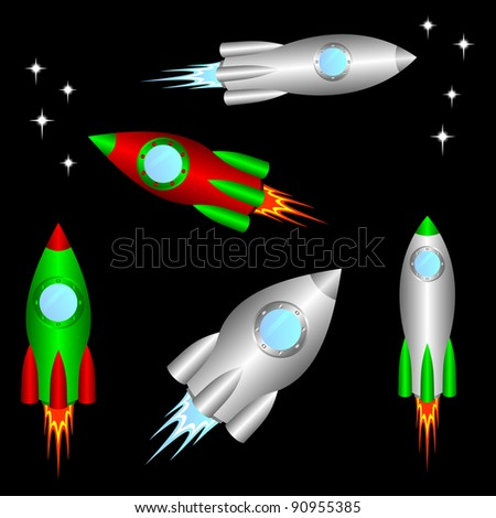 Some different space rockets on a black background. EPS version is available as ID 87436601. - stock photo