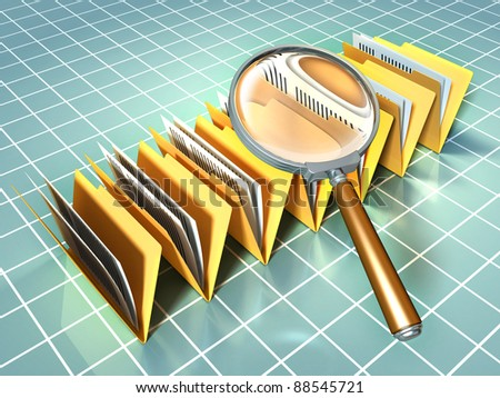 Some document folders under a magnifying glass. Digital illustration. - stock photo