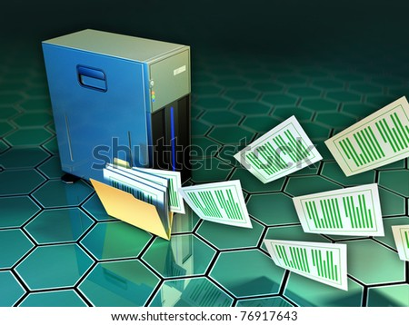 Some documents flying out of a file folder, next to a tower server. Digital illustration. - stock photo