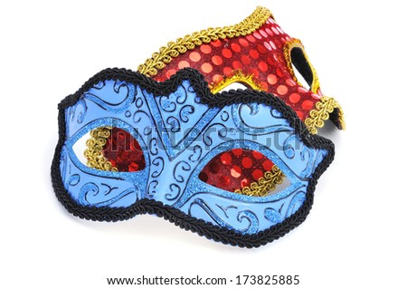 some elegant carnival masks on a white background - stock photo
