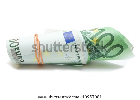 some 100 eur banknotes over white isolated background