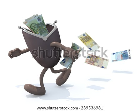 some euro banknotes inside wallet with arms and legs go away, 3d illustration - stock photo