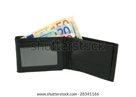 Some Euro notes in open black wallet isolated on white background - stock photo