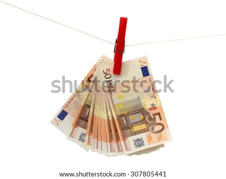 some 50 euros banknotes on a white background - stock photo