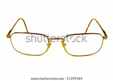 Some eye glasses facing you on a white background