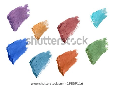 some eyelash color swatches isolated over white - stock photo