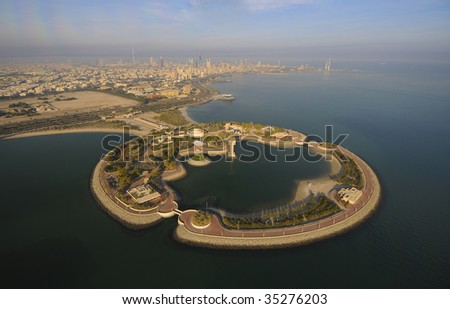 Some famous places in Kuwait shooting from the sky - stock photo