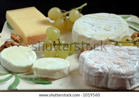 Some fine french cheese : St Felicien, Comte, goat's cheese... - stock photo