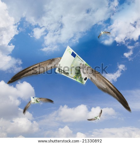 some flying one hundred Euro bills on a sunny and cloudy sky - stock photo