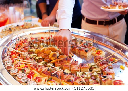 Some foods during a wedding's catering - stock photo