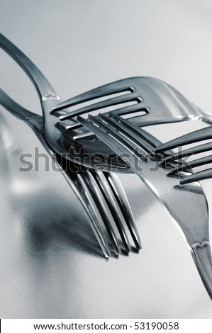 some forks isolated on a white background