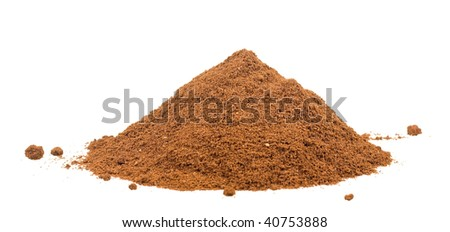 Some fresh coffee powder isolated on white background - stock photo
