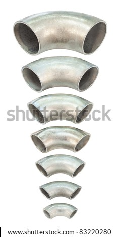 some galvanized iron pipe bends - spare parts for pipelines - stock photo