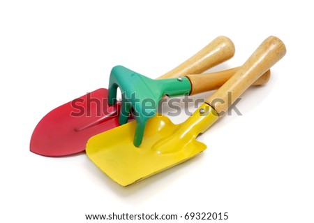 some gardening tools isolated on a white background