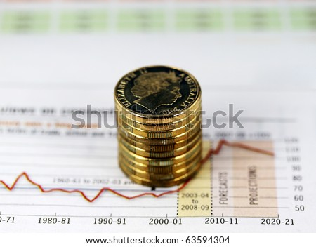 Some gold coins stacked on a newspaper showing a gold price graph where the trend is up, up and away through the stratosphere. - stock photo